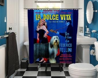 Bearded Collie Art Shower Curtain, Dog Shower Curtains, Bathroom Decor   La dolce vita Movie Poster