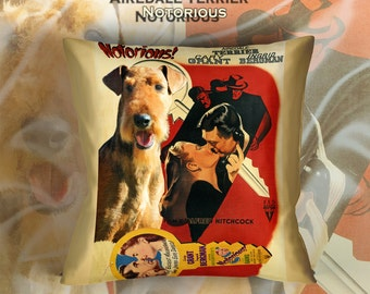 Airedale Terrier Art Pillow Case   Notorious Movie Poster   by Nobility Dogs