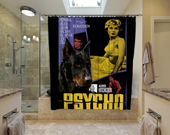 Beauceron Art Shower Curtain, Dog Shower Curtains, Bathroom Decor - Psycho Movie Poster  Perfect CHRISTMAS Gift SALE 25 off Free Shipping