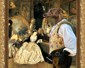 """Italian Greyhound Art """"At the art dealer's shop"""" Canvas Print Dog Lover  Gifts by Nobility Dogs"""