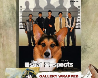 Cardigan Welsh Corgi Dog Art The Usual Suspects Movie Poster Canvas Print Dog Lover Christmas Gift by Nobility Dogs