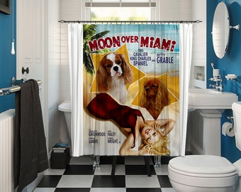Cavalier King Charles Spaniel Art Shower Curtain, Dog Shower Curtains, Bathroom Decor - Moon Over Miami Movie Poster