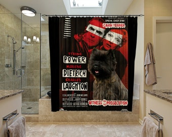 Cairn Terrier Art Shower Curtain, Dog Shower Curtains, Bathroom Decor - Witness for the Prosecution Movie Poster