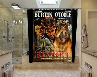 Belgian Tervuren Art Shower Curtain, Dog Shower Curtains, Bathroom Decor - Becket Movie Poster