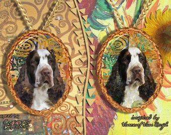 English Springer Spaniel Jewelry Pendant   Brooch Handcrafted Porcelain by Nobility Dogs   Gustav Klimt and Van Gogh