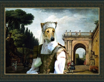 Smooth Collie Dog Art In afternoon in Rome collie Portrait dog costume dogs in clothes Countess collie gift custom dog portrait from photo
