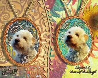 Lagotto Romagnolo Jewelry Pendant   Brooch Handcrafted Porcelain by Nobility Dogs   Gustav Klimt and Van Gogh