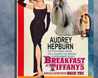 Shih Tzu Vintage Art Poster Breakfast at Tiffany's Movie Poster