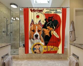 American Staffordshire Terrier Art Shower Curtain, Dog Shower Curtains, Bathroom Decor -Notorious Movie Poster