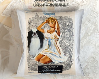 Japanese Chin Art Pillow La Parisienne Movie Poster   by Nobility Dogs