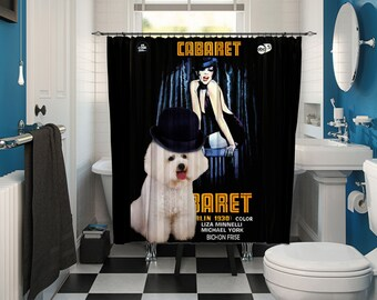 Bichon Frise Art Shower Curtain, Dog Shower Curtains, Bathroom Decor - Cabaret Movie Poster by Nobility Dogs