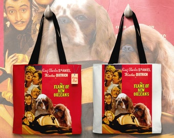 English Toy Spaniel Art Tote Bag   The Flame of New Orleans Movie Poster by Nobility Dogs