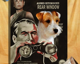 Parson Russell Terrier Fine Art Poster Canvas Print  - Rear Window  Movie Poster Perfect DOG LOVER GIFT Gift for Her Gift for Him