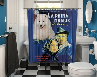Samoyed Art Shower Curtain, Dog Shower Curtains, Bathroom Decor - Rebecca Movie Poster  Perfect CHRISTMAS Gift SALE 25 off Free Shipping