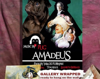 Pug Art Amadeus Vintage Movie Poster by Nobility Dogs