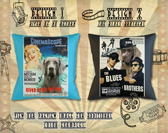 Weimaraner Dog Gifts Portrait Pillow inspired by Movie Poster River of No Return and The Blues Brothers   by Nobility Dogs