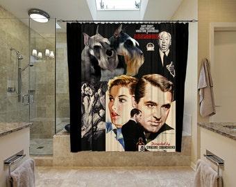 Miniature Schnauzer Art Shower Curtain, Dog Shower Curtains, Bathroom Decor   Suspicion Movie Poster