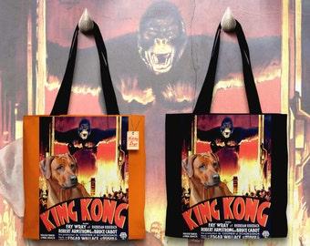 Rhodesian Ridgeback Art Tote Bag    KING KONG Movie Poster   by Nobility Dogs
