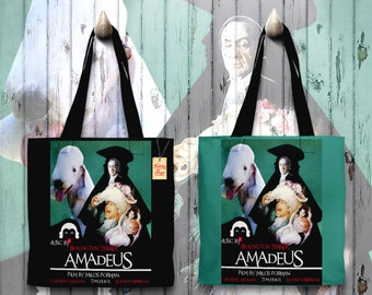 Bedlington Terrier Art Tote Bag   Amadeus Movie Poster by Nobility Dogs