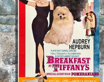 Pomeranian Vintage Movie Style Poster Canvas Print  - Breakfast at Tiffany's Perfect DOG LOVER GIFT Gift for Her Gift for Him Home Decor