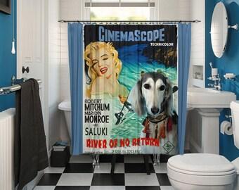 Saluki Art Shower Curtain, Dog Shower Curtains, Bathroom Decor - River of No Return Movie Poster