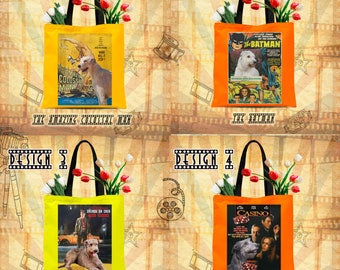 Irish Wolfhound Dog Art Tote Bag inspired by Movie Poster  by Nobility Dogs