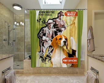 Beagle Art Shower Curtain, Dog Shower Curtains, Bathroom Decor - Fort Apache Movie Poster  Perfect CHRISTMAS Gift SALE 25 off Free Shipping