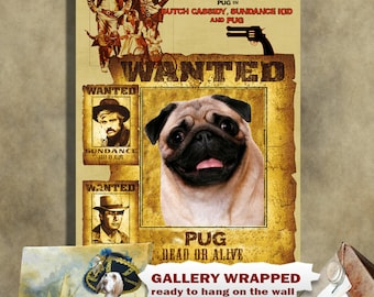 Pug Art Butch Cassidy and the Sundance Kid Movie Poster by Nobility Dogs