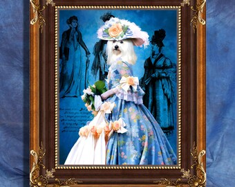 Havanese Dog Art Print 11 x 14 inch original illustration artwork giclee archival premium poster print By Nobility Dogs