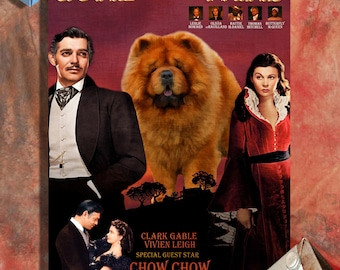 Chow Chow Dog Art Gone with the Wind Vintage Movie Poster Giclee Print  or Gallery wrapped Canvas ready to hang on the wall
