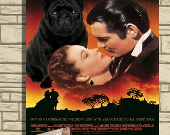 Pug Art Gone with the Wind Vintage Movie Poster by Nobility Dogs