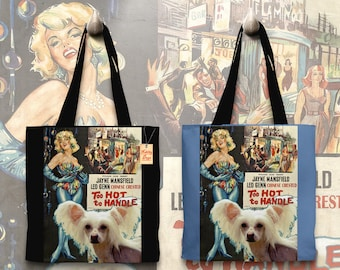 Chinese Crested Dog Art Tote Bag   Too Hot to Handle Movie Poster  by Nobility Dogs