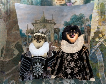 Christmas Gifts Pomeranian Art Pillow    Dog Lover  by Nobility Dogs Arts