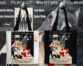 Miniature Schnauzer Art Tote Bag - Reservoir Dogs Movie Poster   Perfect DOG LOVER Gift for Her Gift for Him