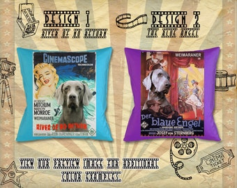 Weimaraner Dog Gifts Portrait Pillow inspired by Movie Poster River of No Return and The Blue Angel  by Nobility Dogs
