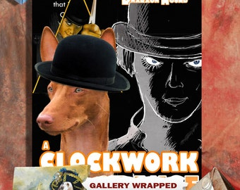 Pharaoh Hound Vintage Poster Canvas Print - A Clockwork Orange Movie Poster  Perfect DOG LOVER GIFT Gift for Her Gift for Him Home Decor
