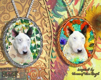 Bull Terrier Jewelry Pendant - Brooch Handcrafted Porcelain by Nobility Dogs - Gustav Klimt and Van Gogh