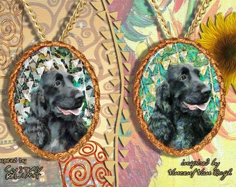 English Cocker Spaniel Jewelry Pendant   Brooch Handcrafted Porcelain by Nobility Dogs   Gustav Klimt and Van Gogh Style