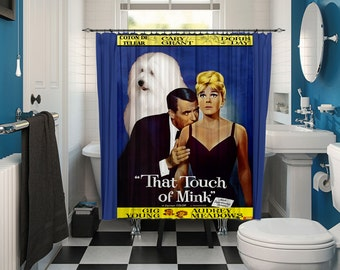 Coton de Tulear Art Shower Curtain, Dog Shower Curtains, Bathroom Decor   That Touch of Mink Movie Poster