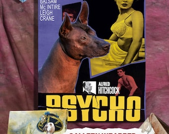 Mexican Hairless Dog Vintage Movie Style Poster Canvas Print  - Psycho  Perfect DOG LOVER GIFT Gift for Her Gift for Him Home Decor