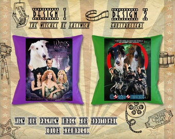 Borzoi Pillow Russian Wolfhound Borzoi Portrait Borzoi Art Custom Dog Portrait Movie Poster GhostBusters The Witches of Eastwick