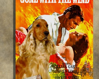 English Cocker Spaniel Vintage Movie Style Poster Canvas Print  - Gone with the Wind  Perfect DOG LOVER GIFT Gift for Her Gift for Him