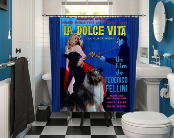 Collie Rough Art Shower Curtain, Dog Shower Curtains, Bathroom Decor - La Dolce Vita Movie Poster