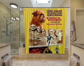 Brussels Griffon Art Shower Curtain, Dog Shower Curtains, Bathroom Decor   North By Northwest Movie Poster