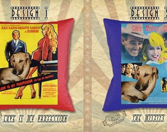 Sloughi Dog Art Pillow Gifts inspired by Movie Poster The Misfits and Love Is My Profession by Nobility Dogs