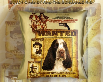 English Springer Spaniel Art Pillow    Butch Cassidy and the Sundance Kid Movie Poster  by Nobility Dogs