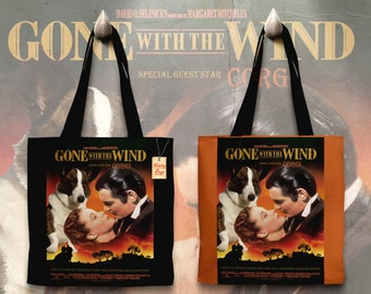 Welsh Corgi Cardigan Art Tote Bag - Gone with the Wind Movie Poster   Perfect DOG LOVER Gift for Her Gift for Him