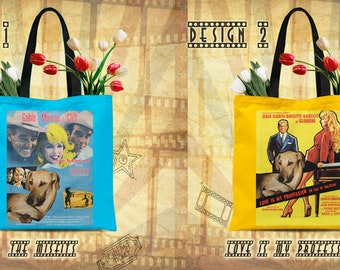 Sloughi Art Tote Bag Sloughi Dog Gifts inspired by Movie Poster The Misfits and Love Is My Profession by Nobility Dogs