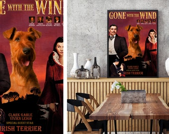 Irish Terrier Art Vintage Poster Movie Style Canvas Print - Gone with the Wind  Perfect DOG LOVER GIFT Gift for Her Gift for Him