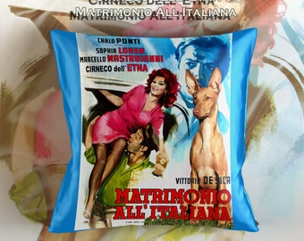 Cirneco dell Etna Art Pillow    Marriage Italian Style Movie Poster   by Nobility Dogs
